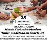 Cartel anunciador de la actividad con manos niños modelando cerámica.