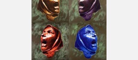 Dibujo de 4 mujeres en actitud de grito en diferentes colores