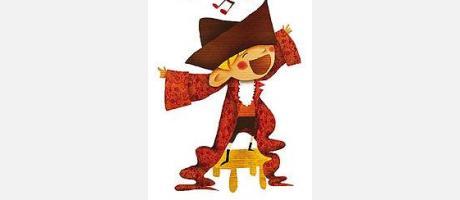 Dibujo de un niño cantando, con notas musicales encima de su cabeza