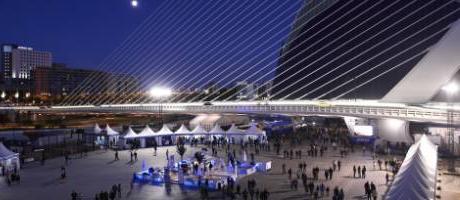 Vista nocturna del Open de Tenis de Valencia