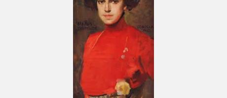 Pintura de mujer de época con vestido rojo