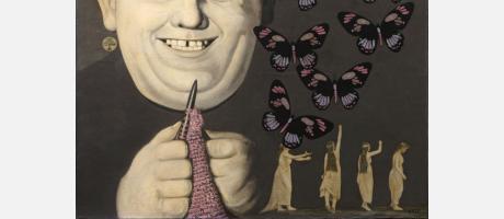 cuadro de hombre sonriente haciendo calceta y rodeado de mariposas