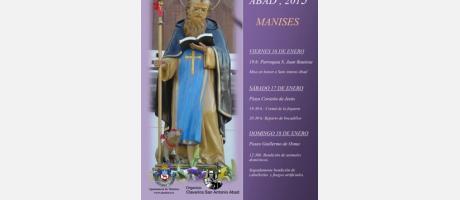 Imagen de San Antonio Abad con báculo y acompañado de un cerdito