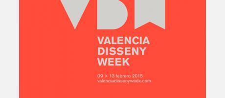 Cartel de la Valencia Disseny Week en rojo y con las letras