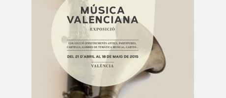 Fotografía de una trompeta bajo el texto de música valenciana