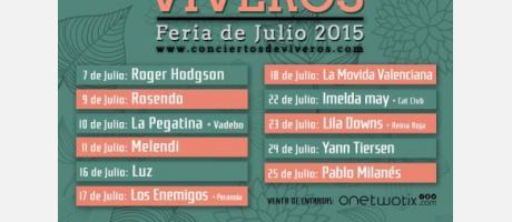 Cartel de Conciertos en Viveros con los nombres de los grupos en verde y rosa