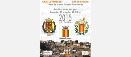 Cartel del concierto Mano a Mano en Buñol con los escudos