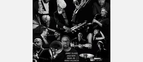 Montaje fotográfico de músicos en blanco y negro