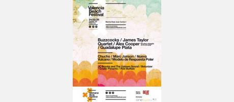 Cartel del Valencia Beach Festival en tonos verde, amarillo y rosado