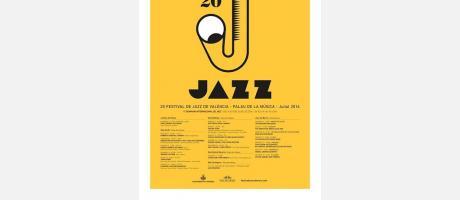 Programa Festival de Jazz con un Saxofón y fondo amarillo