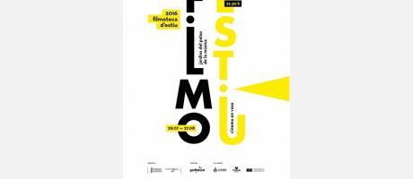 Cartel oficial de la Filmoteca d'Estiu en colores negro y amarillo