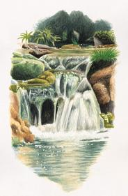 Drawing of waterfall in el Alto Palancia