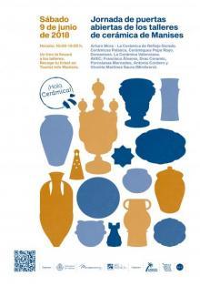 Cartel anunciador con silueta piezas ceramicas en dorado y azul