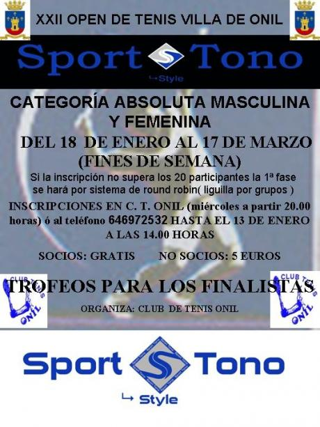 "XXII Open de Tenis Villa de Onil ""Sport Tono"" 2013"