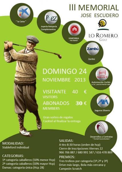 III Memorial José Escudero de Golf en Pilar de la Horadada