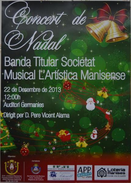 Concierto de Navidad de la Societat Musical L'Artística Manisense 2013
