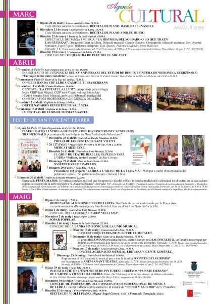 Agenda Cultural Primavera 2014 Llíria.