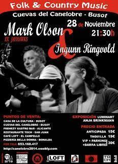 Concierto de Mark Olson e Ingunn Ringuold en las Cuevas del Canelobre de Busot