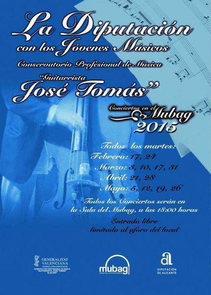 La Diputación con los Jóvenes Músicos. Conservatorio Profesional de Música Guitarrista José Tomás 2015