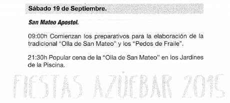 Fiestas de la Olla de San Mateo en Azuébar