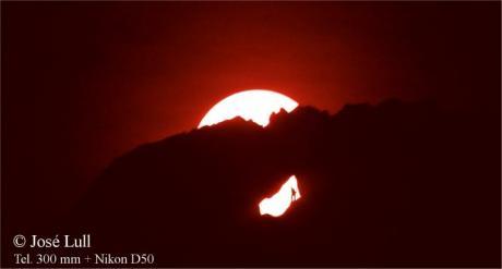 Alineación solar de la Foradada en el Valle de la Gallinera