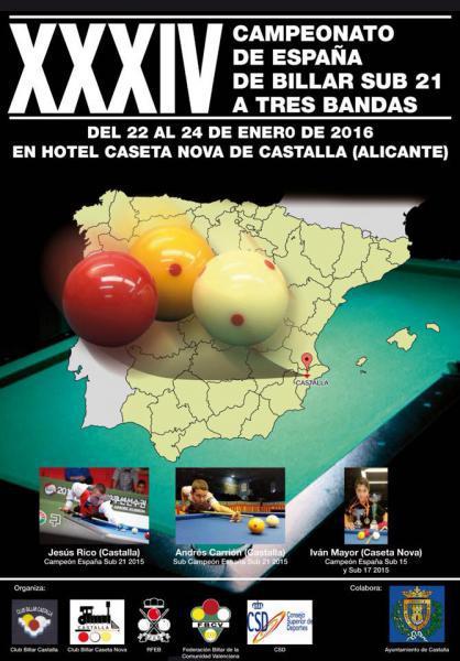 XXXIV CAMPEONATO DE ESPAÑA DE BILLAR SUB 21 A TRES BANDAS