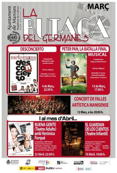 Cartelera Marzo 2016 Auditorio Germanias de Manises