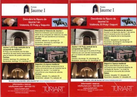 Desde el sábado 8 de octubre de 2016, descubre la figura de Jaume I en Valencia, El Puig y Sagunto con Turiart