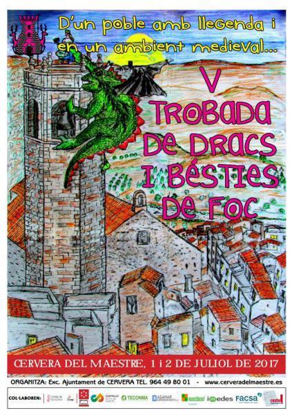 Trobada de dracs i bésties de foc en Cervera del Maestre