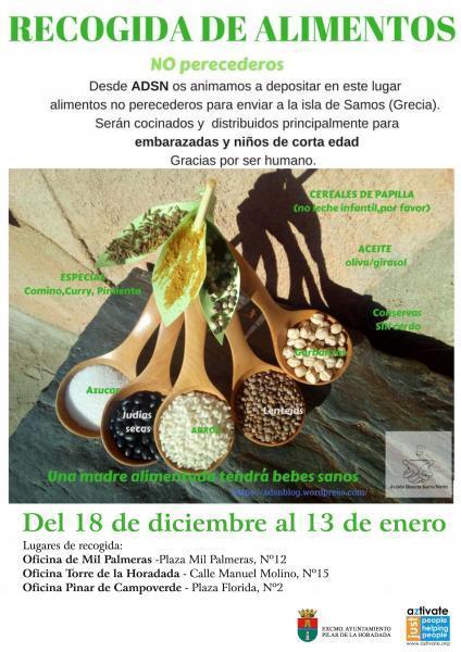 Recogida de alimentos NO perecederos par ADSN (Acción Directa Sierra Norte) a través de la ONG AZTIVATE)