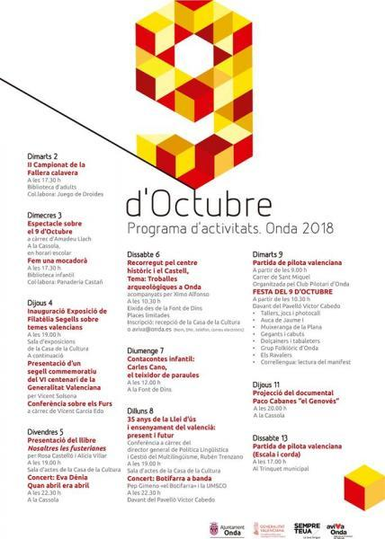 PROGRAMA DE ACTIVIDADES DEL 9 DE OCTUBRE ONDA 2018