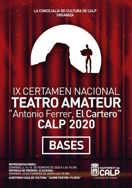 "CONVOCATORIA DEL IX CERTAMEN NACIONAL DE TEATRO AMATEUR ""ANTONIO FERRER, EL CARTERO"", CALP 2020"