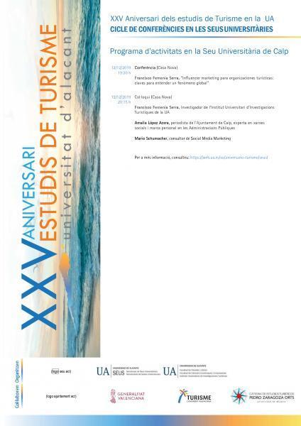 XXV Aniversari dels estudis de Turisme en la UA. CICLE DE CONFERÈNCIES EN LES SEUS UNIVERSITÀRIES