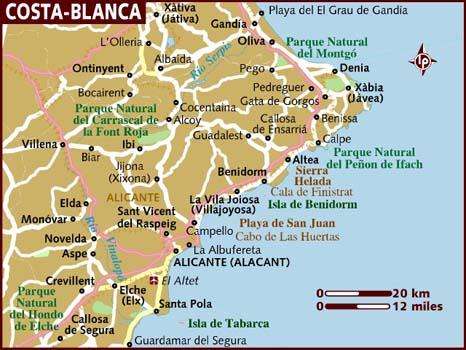 Mapa Costa Comunidad Valenciana.Mapa De La Costa Blanca Alicante