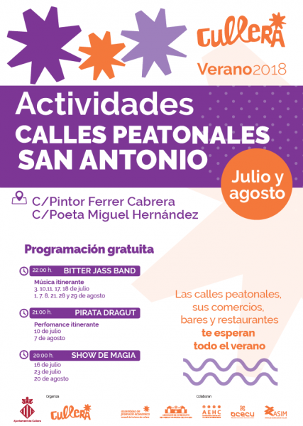 ACTIVIDADES CALLES PEATONALES SAN ANTONIO VERANO 2018